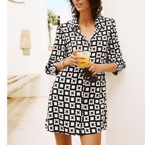 NEW Zara Patterned Bellow Elbow Sleeve Dress
